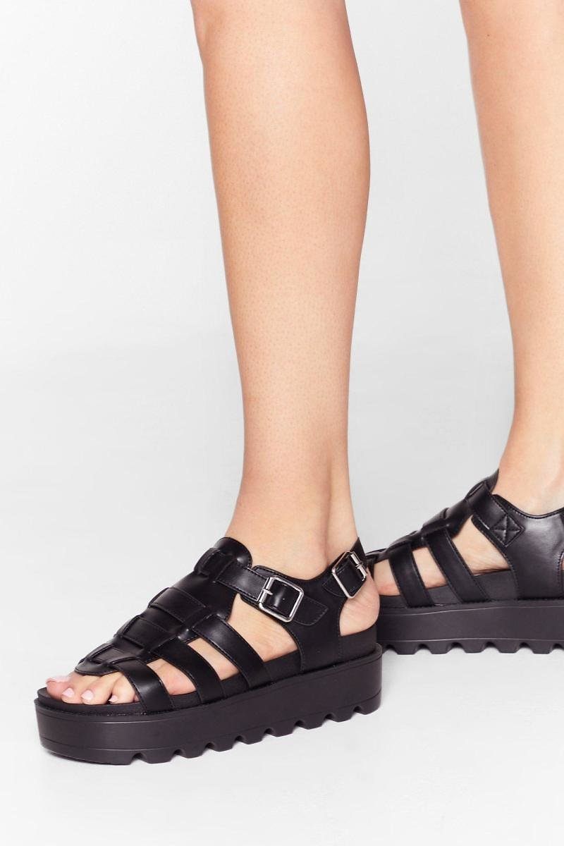 Strapped in Faux Leather Cleated Sandals | Nasty Gal