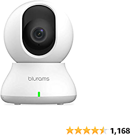 Security Camera Indoor, WiFi Camera 1080p, Blurams Nanny Cam Pet Camera w/ 2-Way Audio, Sound/Person Detection, Night Vision, Siren, Cloud&Local Storage, Works with Alexa&Google Assistant&IFTTT&Siri