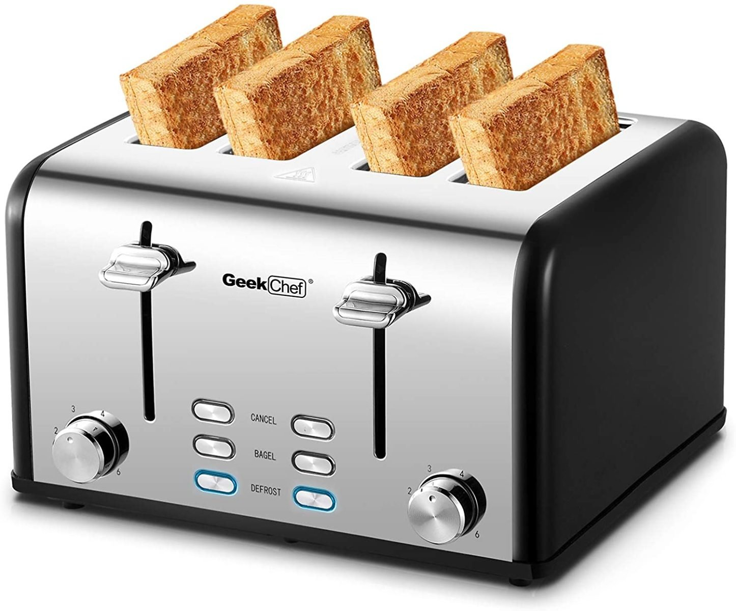 Toaster 4 Slice, Geek Chef Stainless Steel Extra-Wide Slot Toaster with Dual Control Panels of Bagel/Defrost/Cancel Function, 6