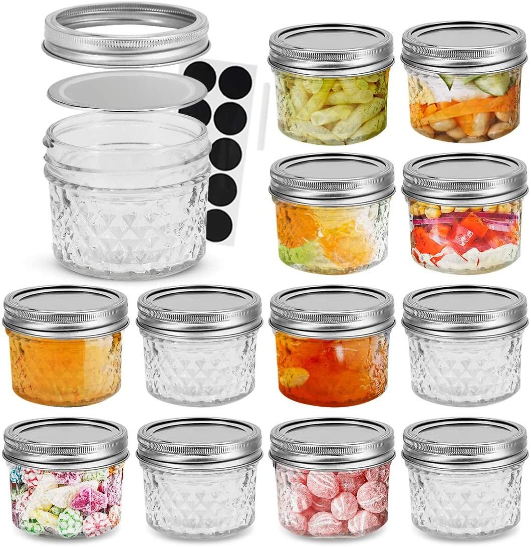FRUITEAM 4 Oz 12 PACK Mini Mason Jars with Lids and Bands, Quilted Crystal Jars Ideal for Food Storage, Jam, Body Butters, Jelly