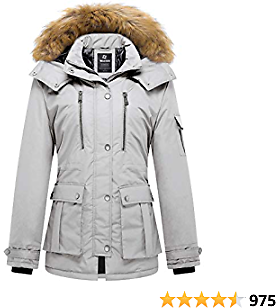 Wantdo Women's Quilted Winter Coat Warm Puffer Jacket Thicken Parka with Removable Hood
