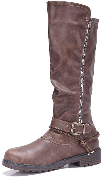 CAMEL WB120 Women's Knee High Mid Calf Boots with Soft Fur Low Heel for Fall Winter, Coffee Size 9