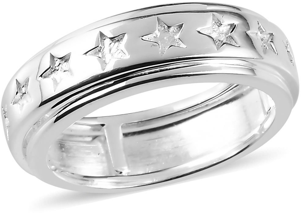 925 Sterling Silver Boho Moon Star Statement Stars Spinner Ring Fashion Jewelry for Women Graduation Gifts for Her Size 9