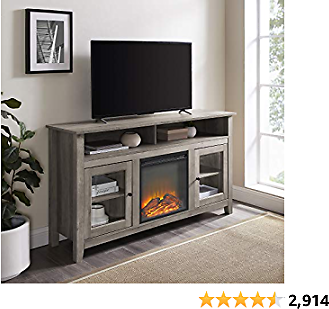 Walker Edison Rustic Wood and Glass Tall Fireplace TV Stand for TV's Up to 64