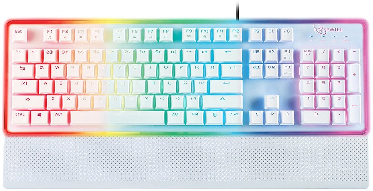 ROSEWILL Gaming White Keyboard, RGB LED Backlit Wired Membrane Mechanical Feel Keyboard with Removable Keycaps and Wrist Rest