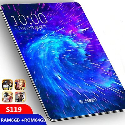 Tablet 10.1 Inch Android 9.0 6G RAM 64G ROM 3G 4G LTE 1280*800 IPS 5MP SIM Card