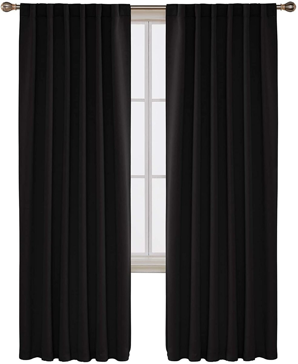 Deconovo Long Black Blackout Curtains Back Tab and Rod Pocket Thermal Insulated Room Darkening Curtains for Sliding Glass Door 52x108 Inch 2 Panels