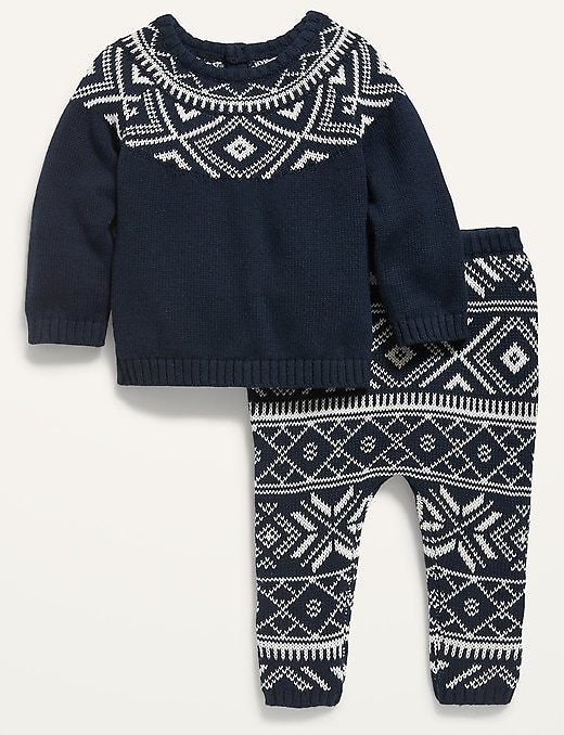 Unisex 2-Piece Fair Isle Sweater and U-Shaped Pants Set for Baby | Old Navy