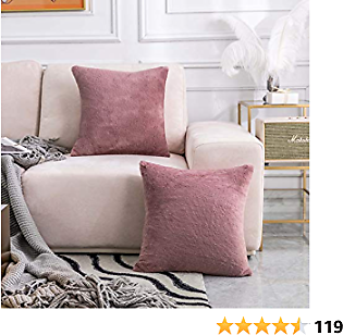 Home Brilliant Pack of 2, Soft Luxury Series Faux Rabbit Fur Throw Pillow Case Cushion Cover for Sofa Bedroom Car 26 X 26 Inch 66 X 66 Cm, Dusty Pink