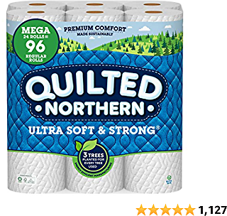 Quilted Northern Ultra Soft and Strong Earth-Friendly Toilet Paper, 24 Mega Rolls = 96 Regular Rolls