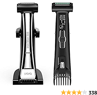 Brori Mens Body Hair Groomer - Dual-Sided Body Trimmer and Shaver Beard Trimmer for Men Ceramic Blade Showerproof with Charging Stand