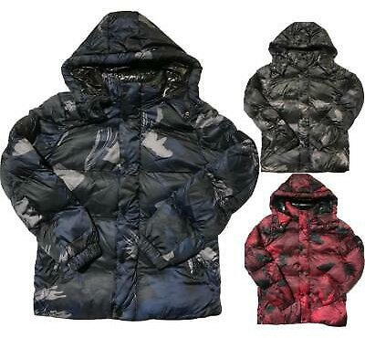 Ex-Superdry Mens Hooded Camo Puffer Quilted Padded Bomber Camo Army Jacket Coat