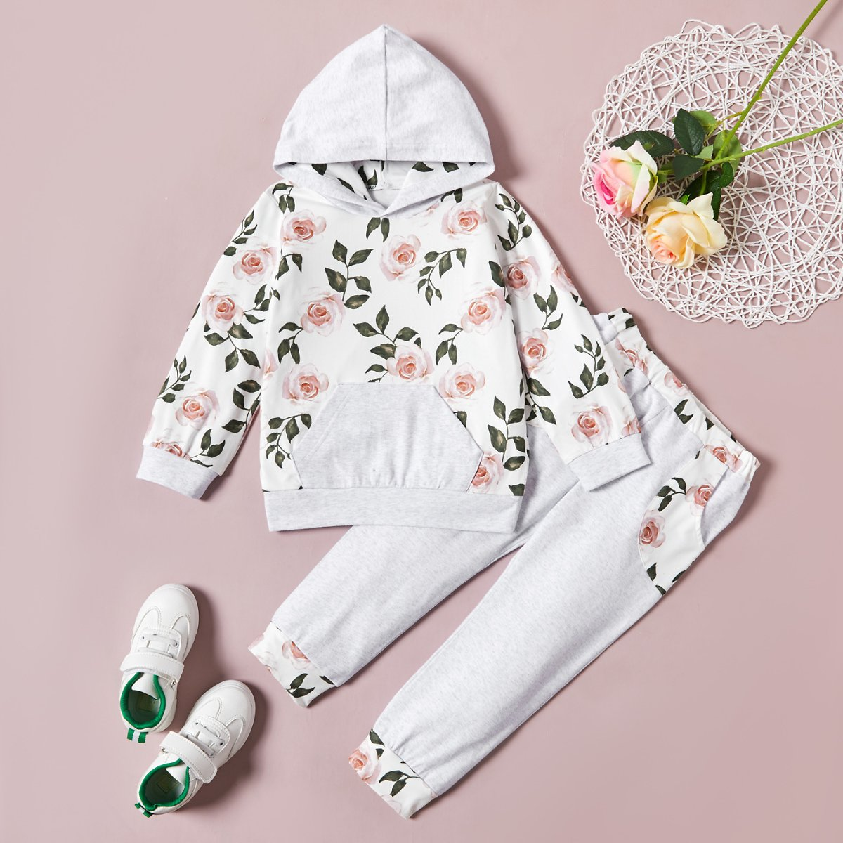 2-piece Baby / Toddler Floral Hooded Pullover and Pants Set