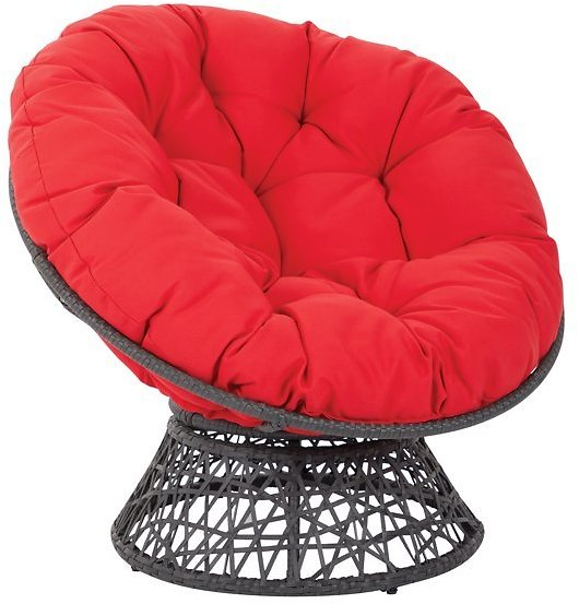 OSP Designs By Office Star Products Papasan Chair with Black Cushion and Black Frame
