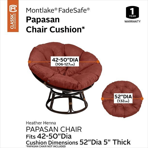 Classic Accessories Montlake Water-Resistant 50 Inch Papasan Cushion, Heather Henna