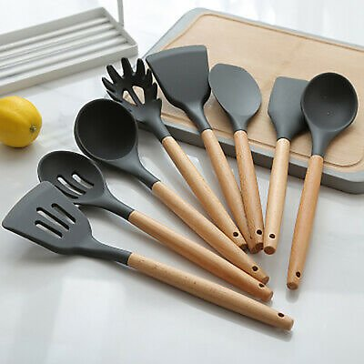 1pcs Silicone Spoons Wooden Handle Spatula Kitchen Cooking Utensils Tools Gdr