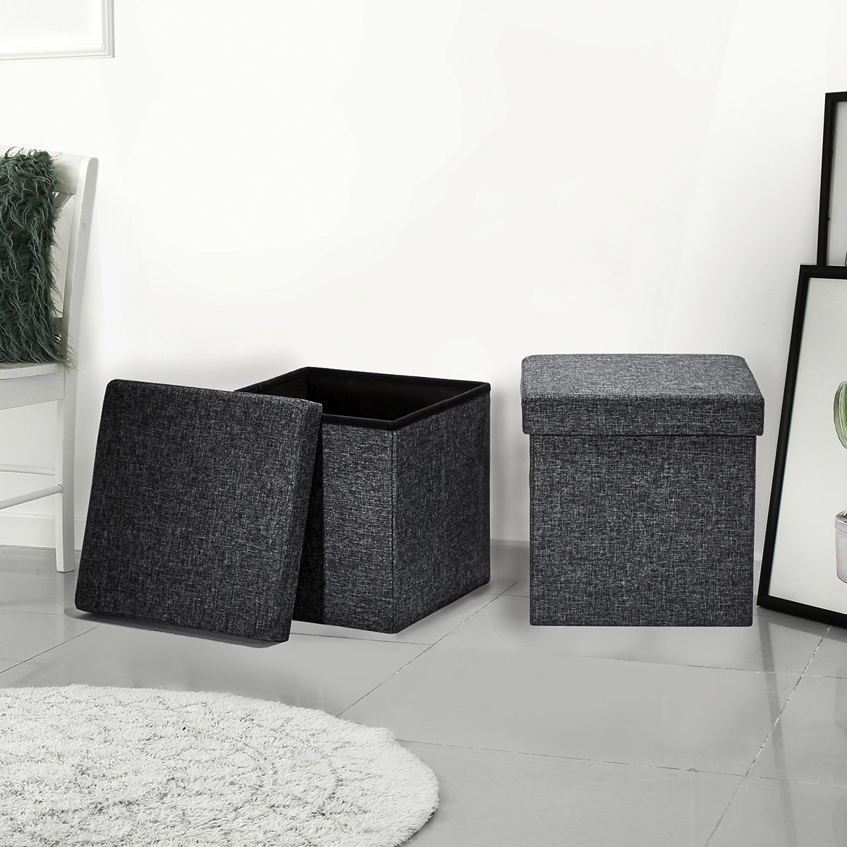 Foldable Storage Ottoman, Charcoal Gray, 2 Pack By Seville Classics