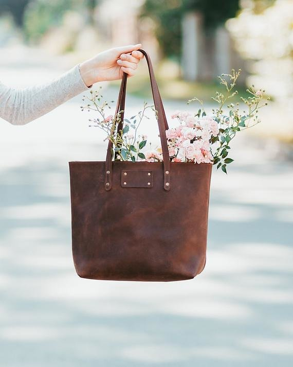 Leather Tote Personalized Genuine Leather Bag Women Tote Gift for Her Girlfriend 3rd Anniversary Gift for Wife Thanksgiving Gift Daughter