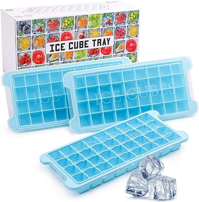 Ice Cube Trays Silicone Ice Cube Molds with Lids 3 Pack 108 Mini Small Square Ice Cubes,Easy Release Reusable and BPA Free Ice C