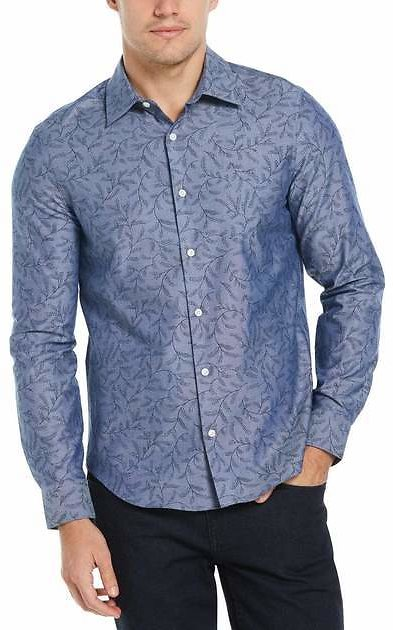 Untucked Slim Fit Oxford Print Shirt