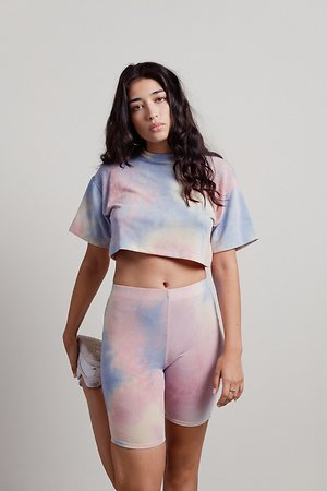 OnwCloud Nine Rainbow Tie-Dye Biker Shorts Set