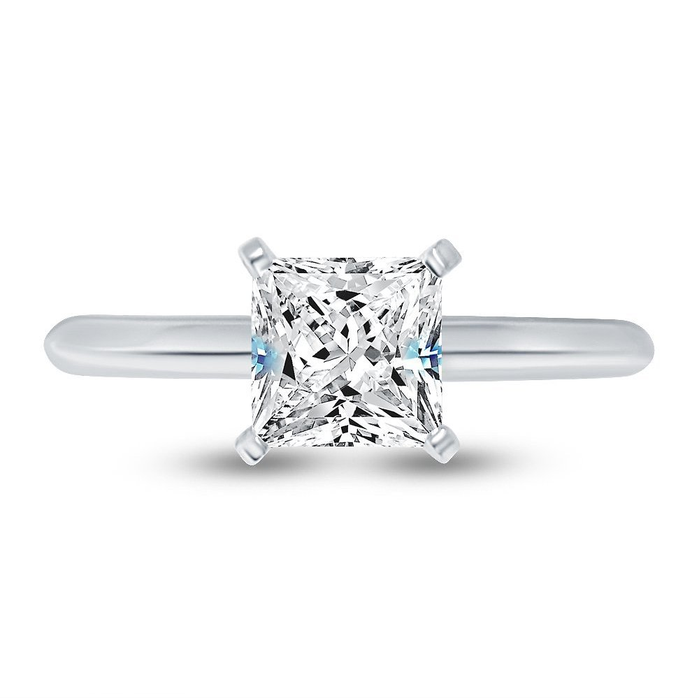 Solid 14k White Gold Princess Cut Knife-Edge Four Prong Solitaire Engagement Ring CZ Cubic Zirconia 1.0ct. , Size 7