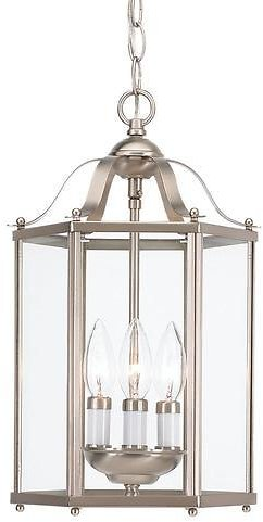 Sea Gull Lighting Bretton Brushed Nickel Traditional Clear Glass Lantern Pendant Light Lowes.com
