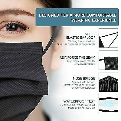 Face Masks Medical Surgical Dental Disposable Protector Black Mouth Cover 50 PCS