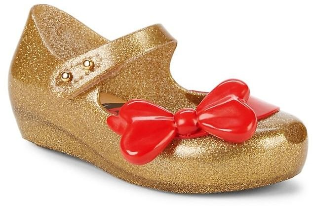 Mini Melissa Baby Girl's & Little Girl's Snow White Glitter Bow Mary Janes
