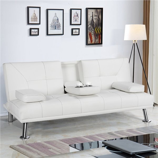 Modern White Faux Leather Reclining Futon with Pillows and Cupholder