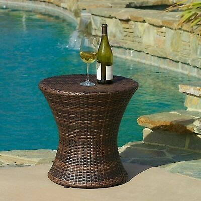 Townsgate Outdoor Brown Wicker Hourglass Side Table 637162682968