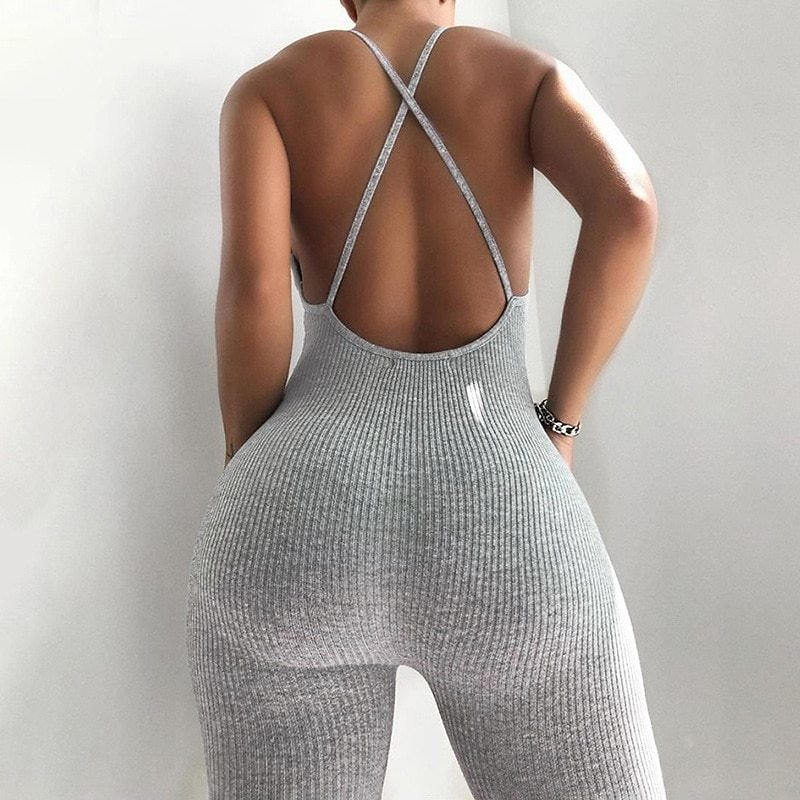 2020 Summer Women Sexy Sport Knitted Jumpsuit Streetwear Skinny Bodycon Backless Solid Jumpsuits Romper Playsuit For Women