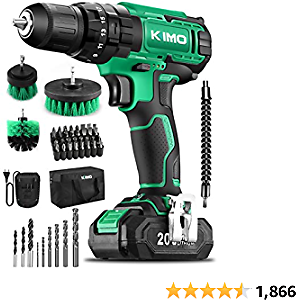 KIMO Cordless Drill Driver Kit, 20V Impact Drill Set W/Lithium-ion Battery/Charger & Cleaning Brush, 350 In-lb Torque, 3/8