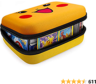 Cards Holder Compatible with PM TCG Card, Phase 10 Card Game, C.A.H, What Do You Meme. Card Organizer Case Fits Up to 400+ Cards. Cards Storage Box with 2 Removable Dividers (Yellow)