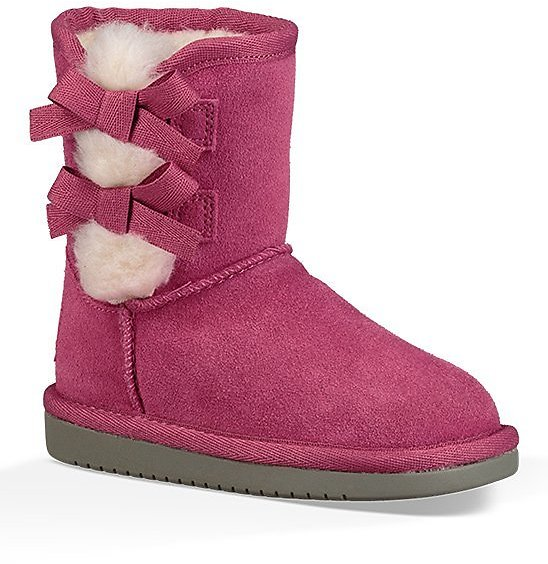 Raspberry Rose Bow-Accent Victoria Short Boot - Girls