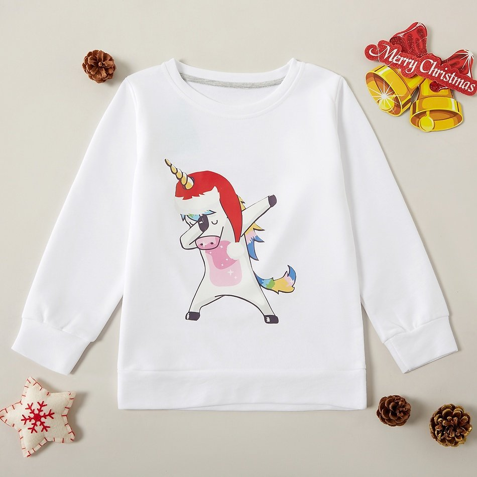 Stylish Christmas Unicorn Print Sweatshirts