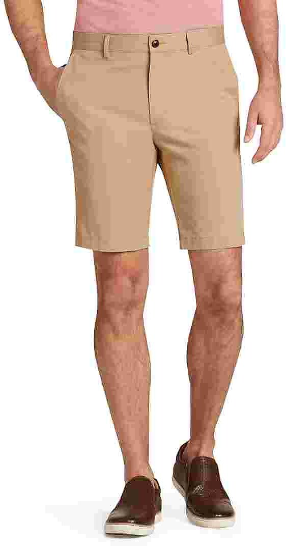 1905 Collection Tailored Fit Flat Front Twill Shorts - Big & Tall