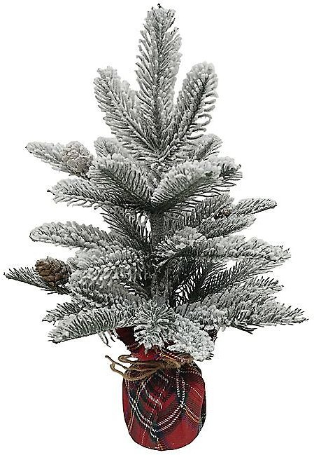 50% OFF ON 14-Inch Flocked Pine Tree in Plaid Base