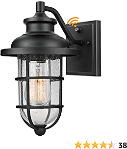 Outdoor Light Fixture Wall Mount with Dusk to Dawn Sensor, Exterior Wall Lantern Built-in Photocell, Anti-Rust Waterproof Wall Lantern with Seeded Glass Shade, Perfect for Entryway, Porch, Doorway