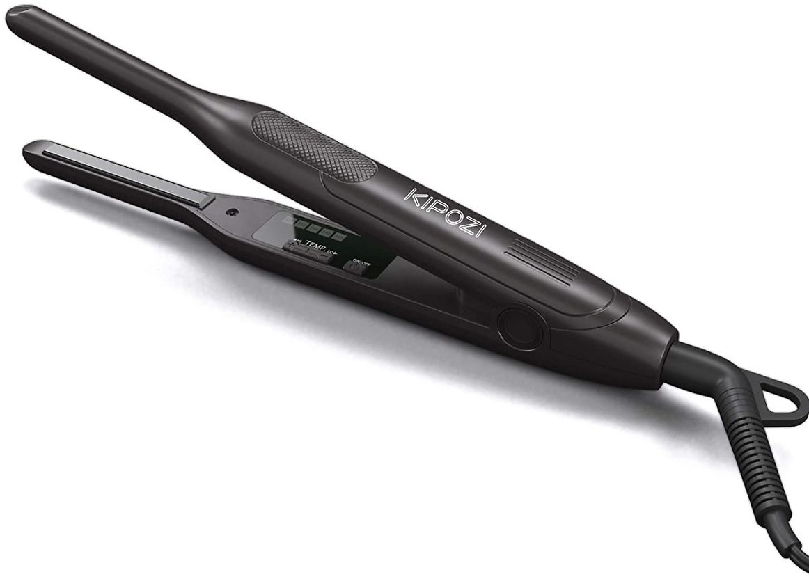 KIPOZI Pencil Flat Iron, Small Flat Iron for Short Hair and Pixie Cut, 0.3 Inch Titanium Beard Hair Straightener with Variable Temperature, Dual Voltage