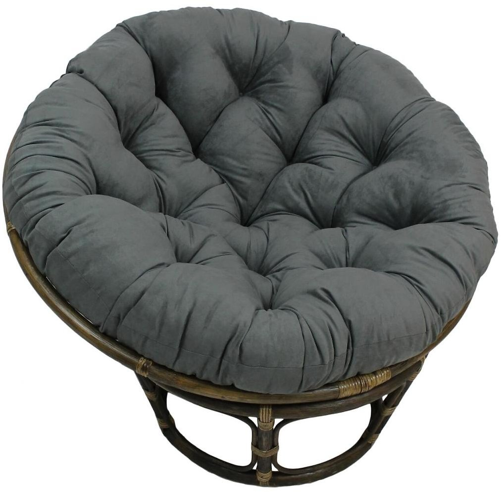44-inch Solid Micro Suede Papasan Cushion (Fits 42-inch Papasan Frame)-Color:Grey