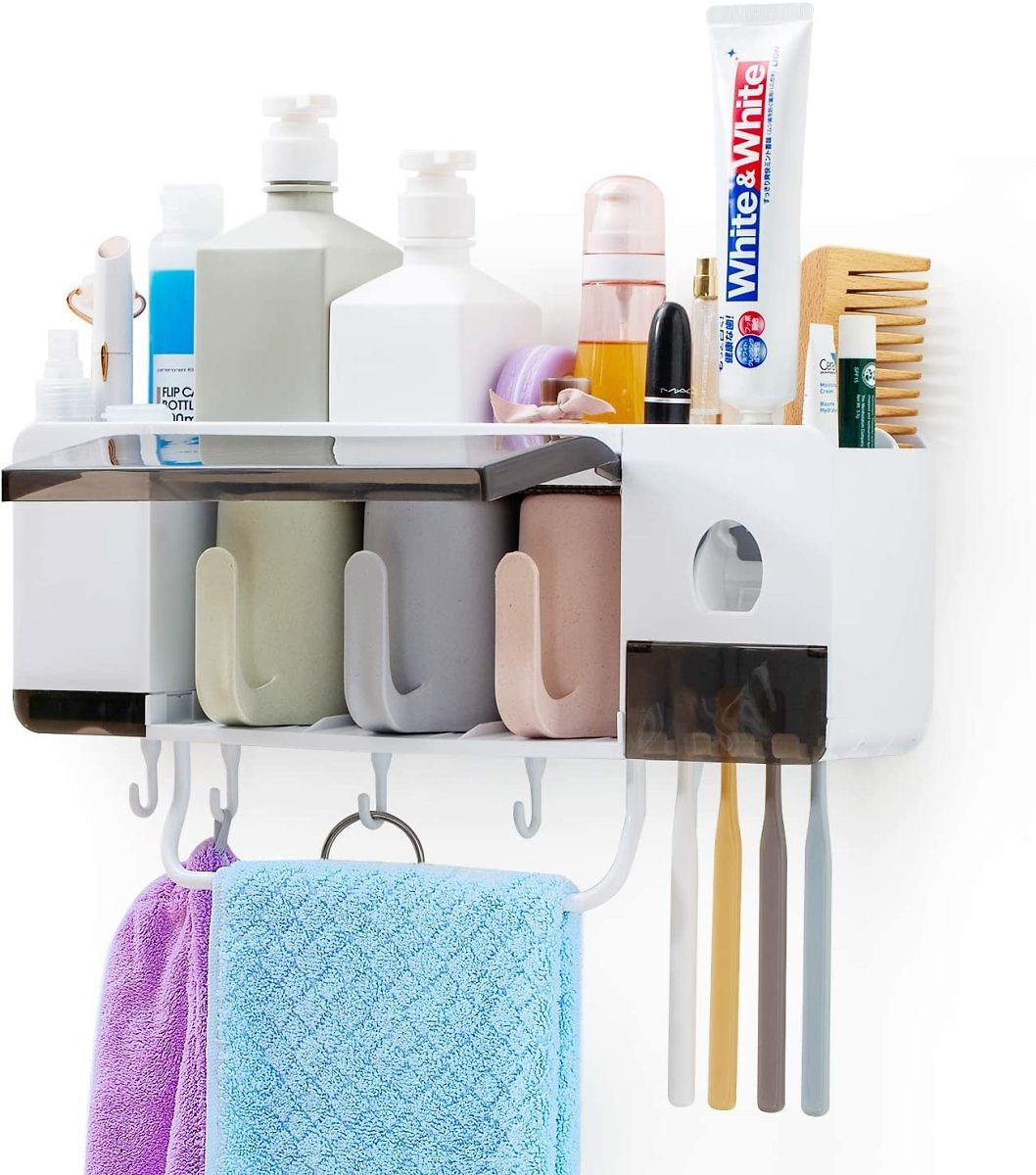 Multifunctional Wall-Mounted Toothbrush Holder with Automatic Toothpaste Dispenser