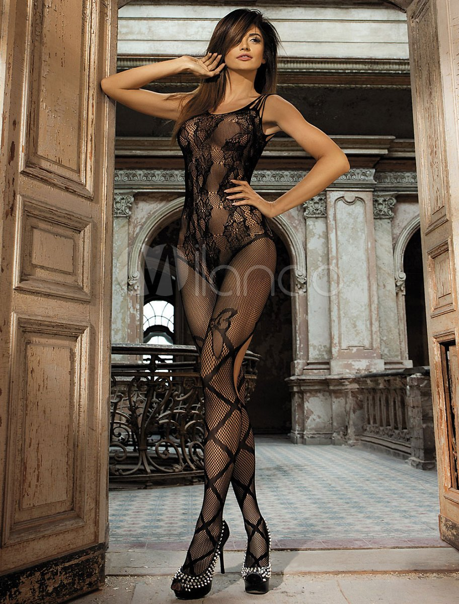 Black Sexy Bodystocking Women's Jacquard Stretch Sheer Lingerie