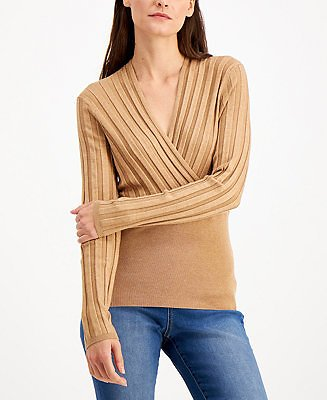 INC International Concepts INC Surplice Sweater, Created for Macy's & Reviews - Sweaters - Women