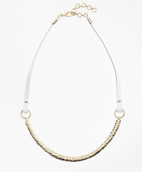 Leather and Hammered Gold Choker - Brooks Brothers