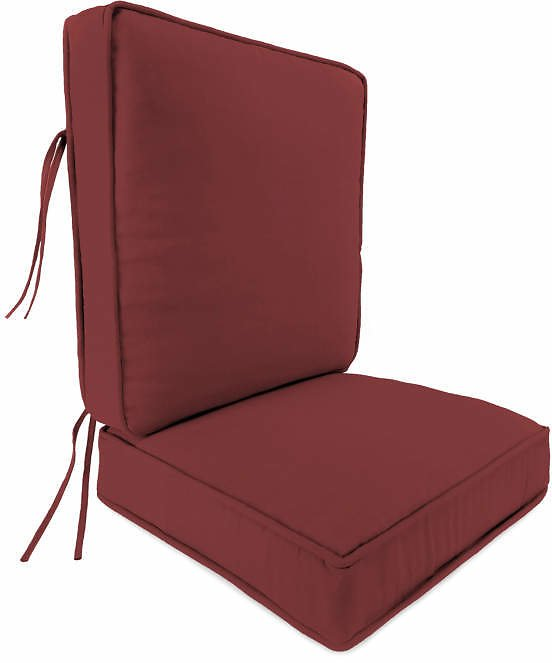 Rust Red Deluxe Double-Piped Outdoor Seat Cushion