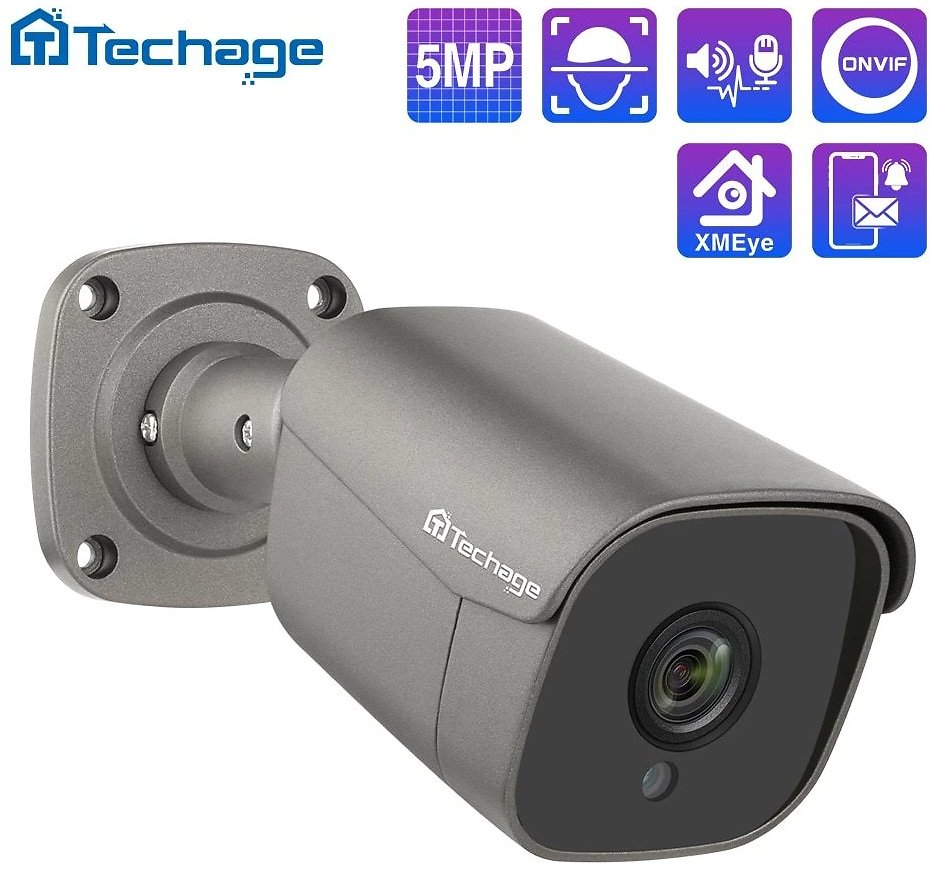 Techage H.265 5MP FULL HD Security POE IP Camera Two Way Audio AI Camera IR-CUT Outdoor Video Surveillance for ONVIF NVR System