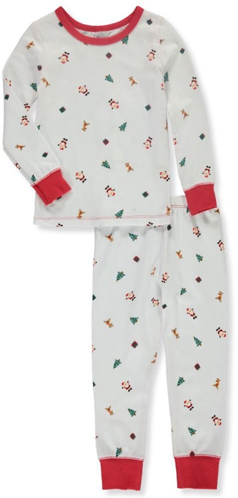 2-Piece Baby Unisex Cotton Holiday Theme Pajama Set - White, 12 Months