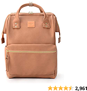 Kah&Kee Leather Backpack Diaper Bag with Laptop Compartment Travel School for Women Man (Tan Pink, Large)