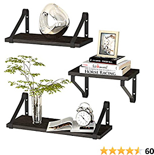 ZGO Floating Shelves for Wall Set of 3, Wall Mounted Storage Shelves with Metal Frame for Bathroom, Bedroom, Living Room, Kitchen, Office